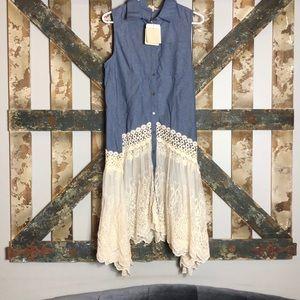 Denim lace button vest, top, tunic, dress